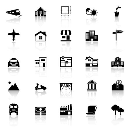 deed: Real estate icons with reflect on white background