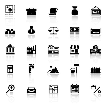 home loan: Mortgage and home loan icons with reflect on white background