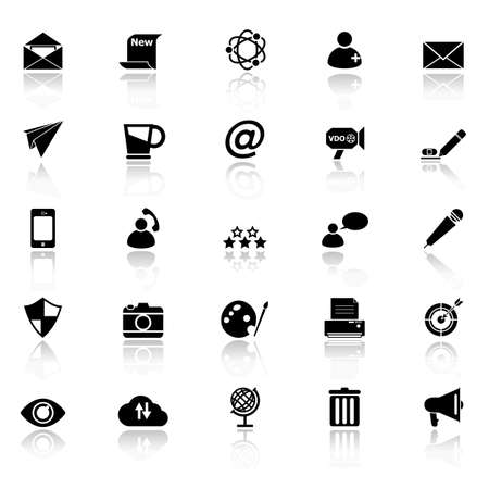 reflect: Message and email icons with reflect on white background