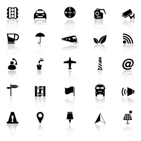 monorail: Map sign icons with reflect on white background