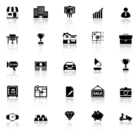 valuation: Asset and property icons with reflect on white background