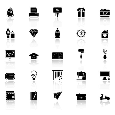reflect: Art and creation icons with reflect on white background Illustration