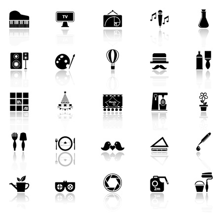 art activity: Art activity icons with reflect on white background