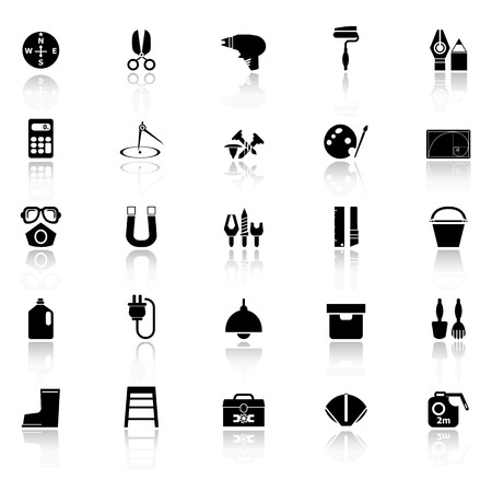 diy tool: DIY tool icons with reflect on white background