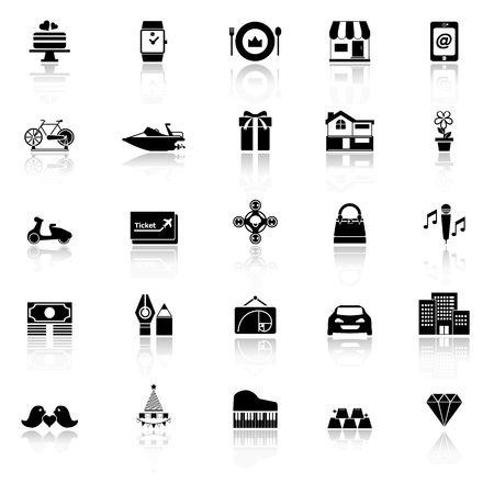 expensive food: Birthday gift icons with reflect on white background
