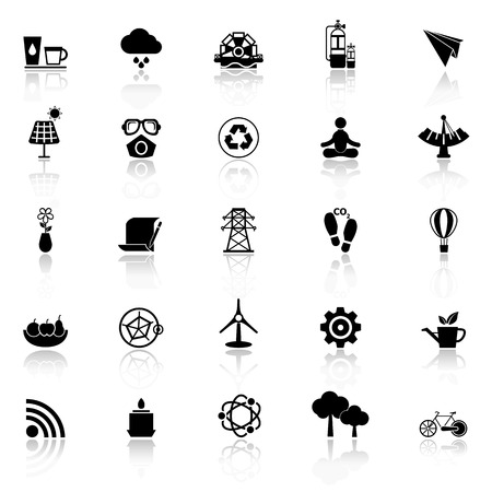 reflect: Clean concept icons with reflect on white background