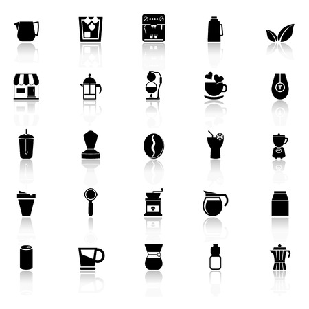 reflect: Coffee and tea icons with reflect on white background