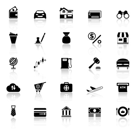 e wallet: E wallet icons with reflect on white background Illustration