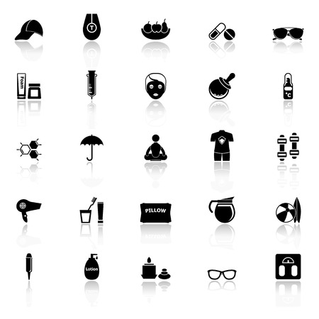 body treatment: Facial and body treatment icons with reflect on white background Illustration