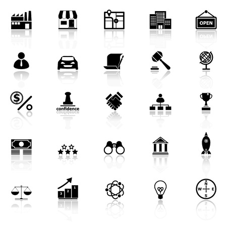 Franchise icons with reflect on white background