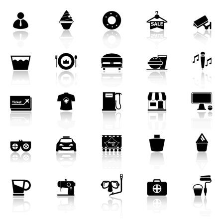 roomservice: Franchisee business icons with reflect on white background