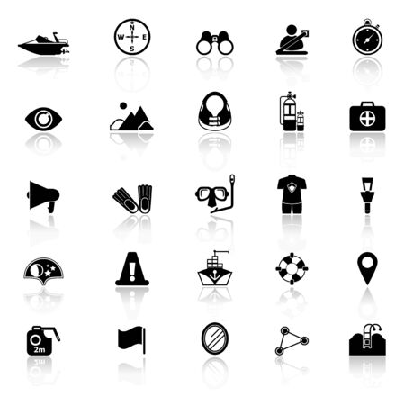 waterway: Waterway related icons with reflect on white background Illustration
