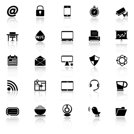reflect: Internet cafe icons with reflect on white background