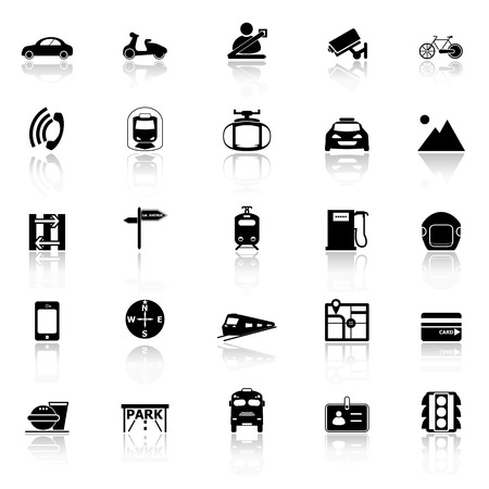 reflect: Land transport related with reflect icons on white background