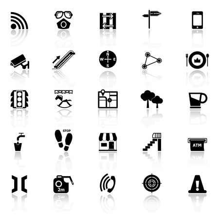 reflect: Pathway related icons with reflect on white background