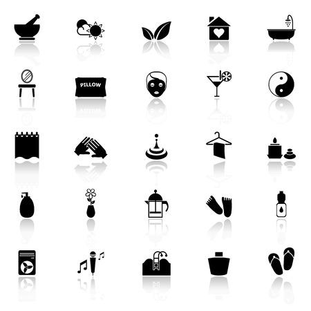 reflect: Massage icons with reflect on white background Illustration