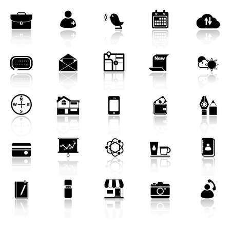 reflect: Mobile icons with reflect on white background
