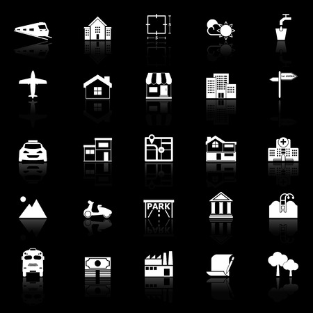 monorail: Real estate icons with reflect on black background, stock vector