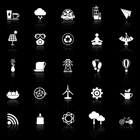 reflect: Clean concept icons with reflect on black background, stock vector