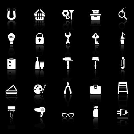 reflect: DIY icons with reflect on black background, stock vector