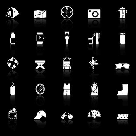 lamplight: Camping necessary icons with reflect on black background, stock vector Illustration