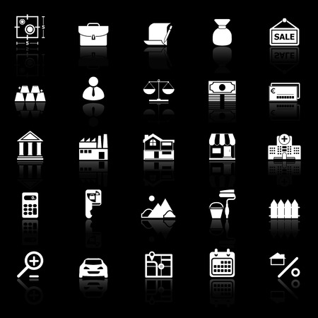 home loan: Mortgage and home loan icons with reflect on black background, stock vector