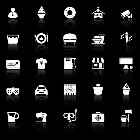 roomservice: Franchisee business icons with reflect on black background, stock vector Illustration