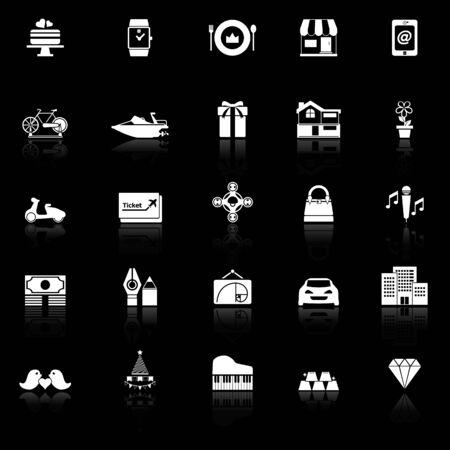 cadeau anniversaire: ic�nes de cadeau d'anniversaire avec refl�tent sur fond noir, vecteur de stock