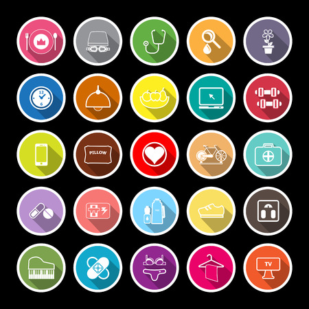 quality of life: Quality life line flat icons with long shadow, stock vector