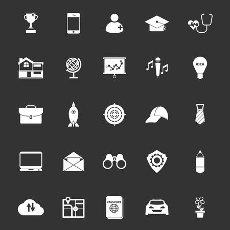 Job description icons on gray background, stock vector