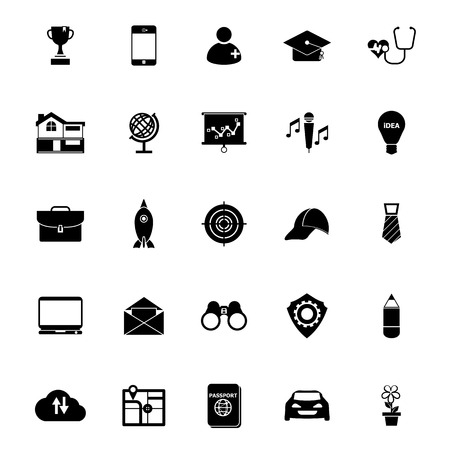 Job description icons on white background, stock vector