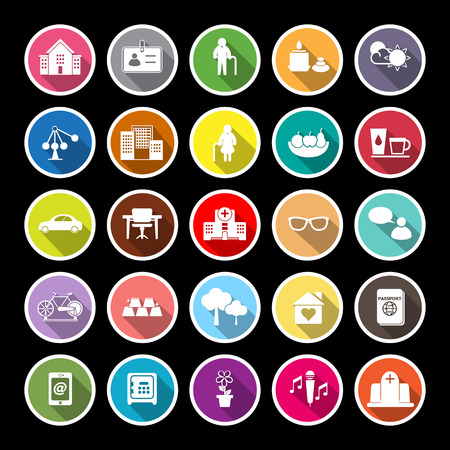 retirement community: Retirement community flat icons with long shadow, stock vector