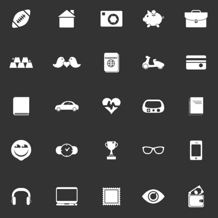 datos personales: Iconos de datos personales sobre fondo gris