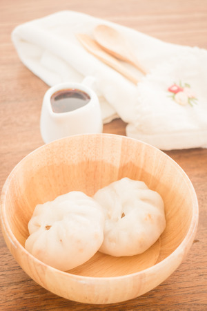 stuff: Steamed dumpling stuff on wooden bowl Stock Photo