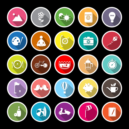 Slow life activity flat icons with long shadow, stock vector Ilustrace
