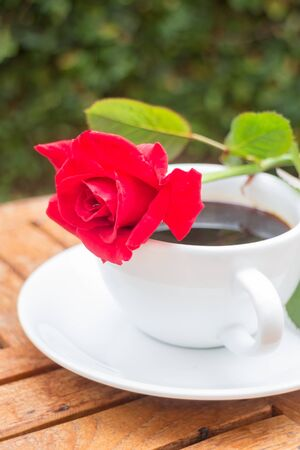 coffeetime: Cup of black coffee in home garden, stock photo Stock Photo