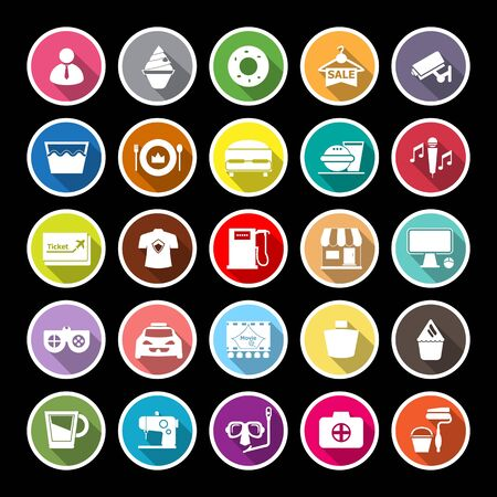roomservice: Franchisee business flat icons with long shadow, stock vector Illustration