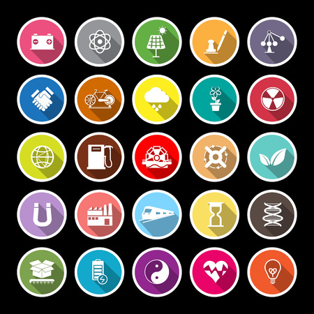 power station: Renewable energy flat icons with long shadow, stock vector
