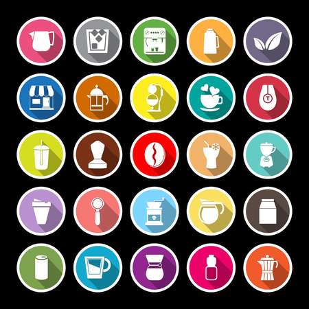 tea basket: Coffee and tea flat icons with long shadow, stock vector