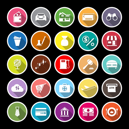 opened bag: E wallet flat icons with long shadow, stock vector