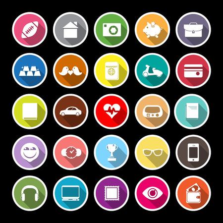 datos personales: Los datos personales iconos planos con larga sombra Vectores