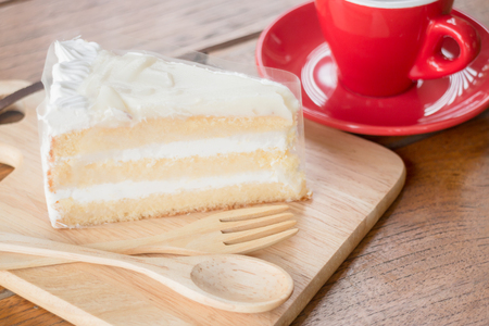 sweet shop: Hot coffee cup and young coconut cake, stock photo Stock Photo