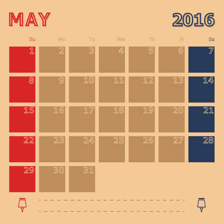 monthly calendar: May 2016 monthly calendar template, Vector Illustration