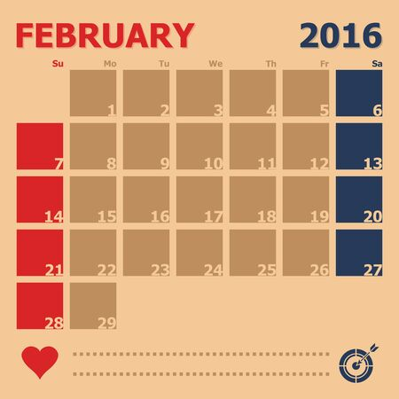 monthly calendar: February 2016 monthly calendar template, Vector Illustration