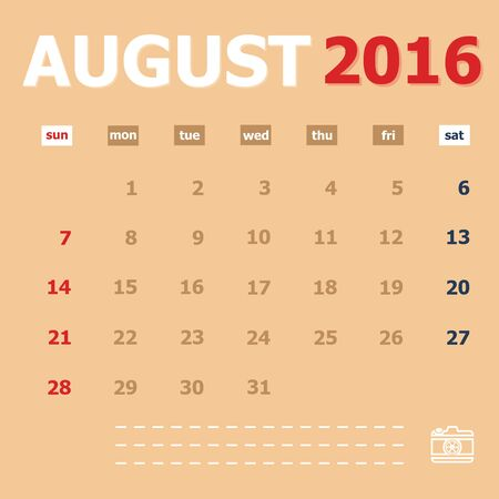 monthly calendar: August 2016 monthly calendar template Illustration