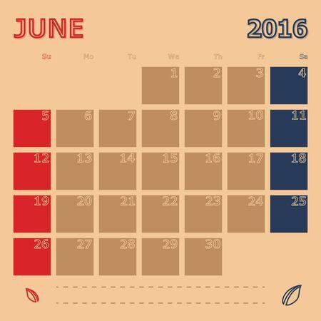 interface scheme: June 2016 monthly calendar template, Vector Illustration