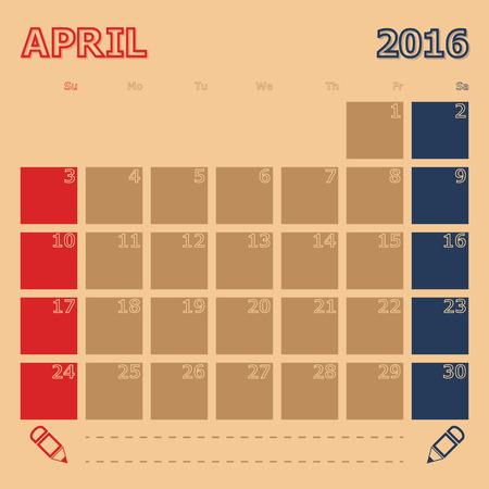 4월: April 2016 monthly calendar templatee, Vector Illustration 일러스트