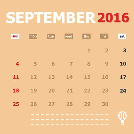 monthly calendar: September 2016 monthly calendar template, Vector Illustration