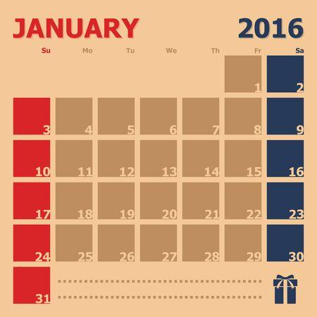 enero: 01 2016 plantilla de calendario mensual, ilustraci�n vectorial Vectores
