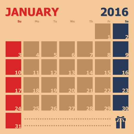 january calendar: January 2016 monthly calendar template, Vector Illustration
